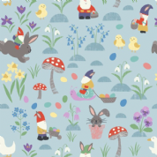 Lewis & Irene - Jolly Spring - 6345 - Gnomes Easter Egg Hunt on Blue - A339.3 - Cotton Fabric